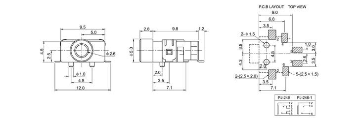 5耳机插座smt贴板帯定位单声道双声道带断开弹片