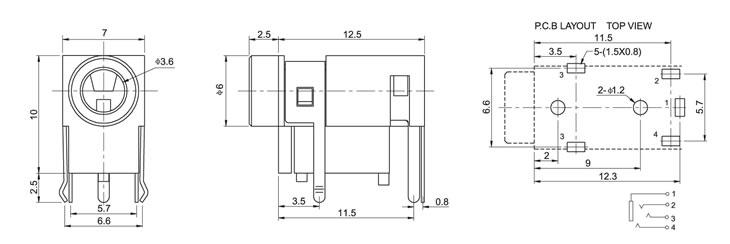 pj-322a 耳机插座 -usb连接器/micro母座/usb母座,//.