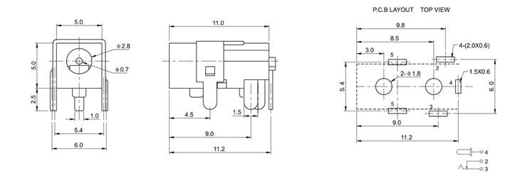 插板式dc电源插座